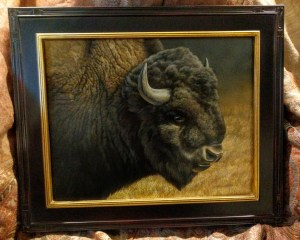 Western Spirit - Bison, 11x14in, watercolor on board with sterling silver