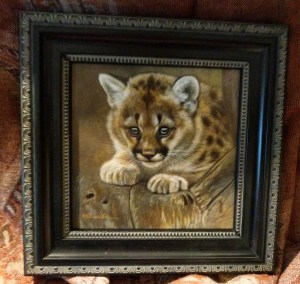 Poised - Cougar Cub, 5x5in, watercolor on board with sterling silver