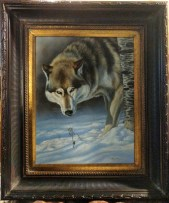 In Sight - Timber Wolf, 18x14in, watercolor on board with sterling silver