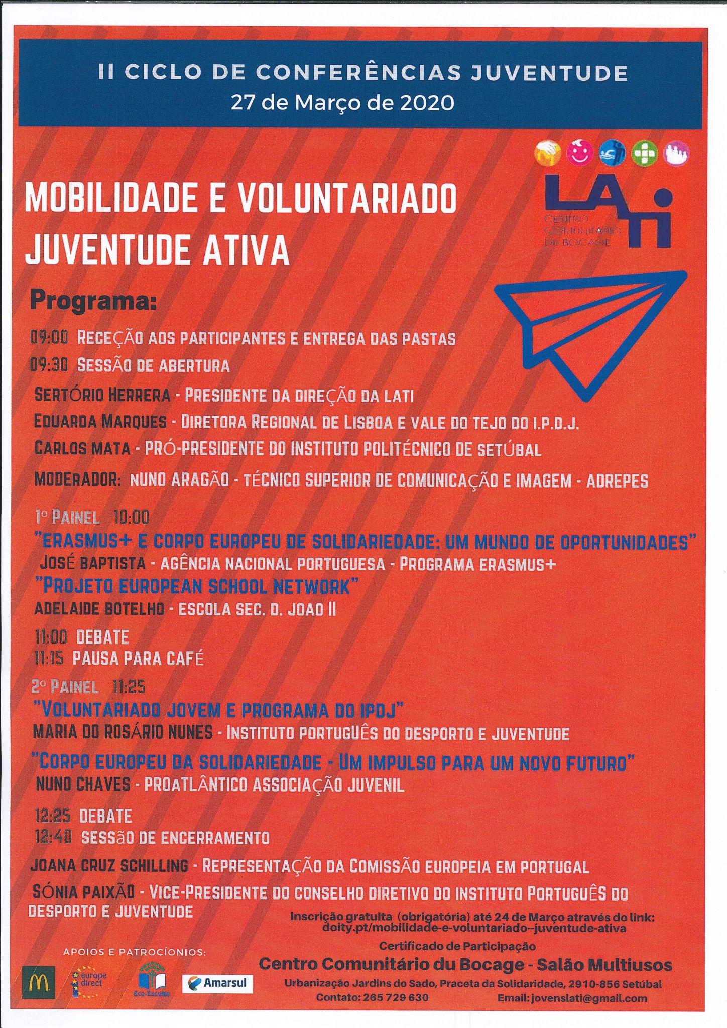 "Conferência "" Mobilidade e Voluntariado: Juventude Ativa"" adiada"