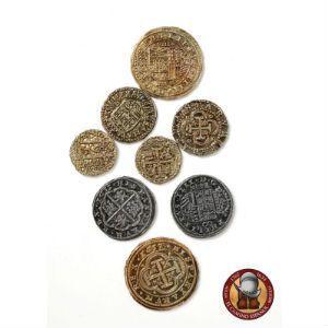 Lote de 8 monedas (doblones, escudos y reales)