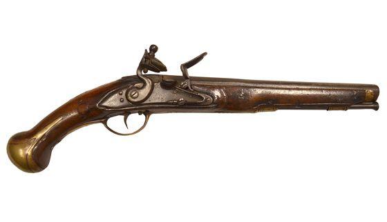 Pistola chispa, entre 1690-1821, museo de Texas de Historia militar. San Antonio