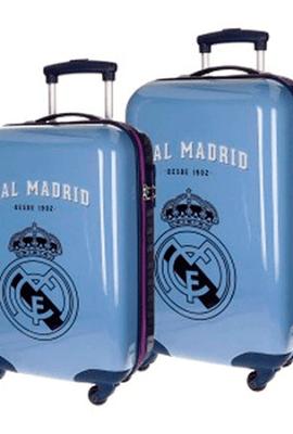 Juego de dos maletas rígidas del Real Madrid.