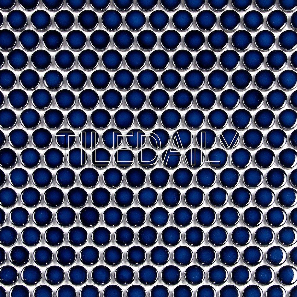 navy blue penny round mosaic 6 95 sq ft latilesale
