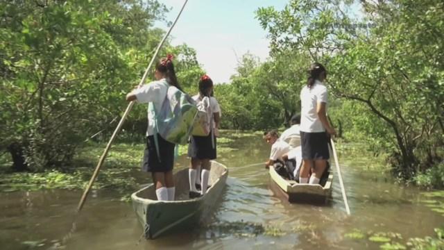 Children Crossing Swamp