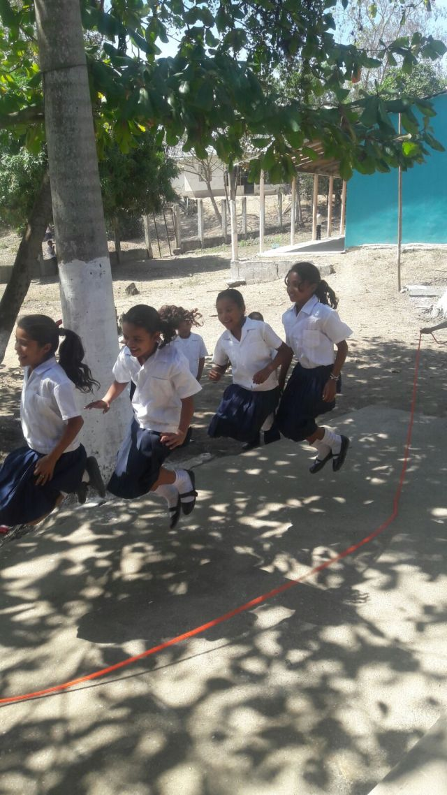 Gloria's students jump rope during break time.