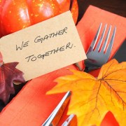 Happy Thanksgiving table We Gather Together