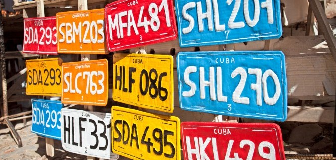 Traditional handcrafted Vehicle registration plates for sale in Cuba
