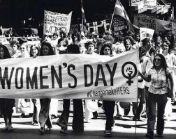 Women protesting for their rights on Women's Day