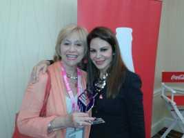 Susana G Baumann, LIBizus (L) with Nelly Galan, Adelante Movement, Brand Ambassador for Coca- Cola (R)