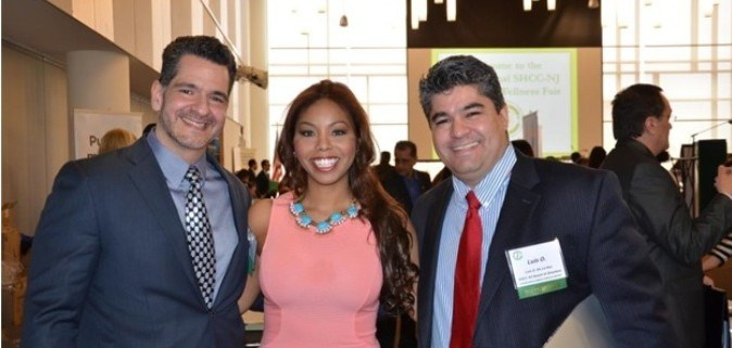 Helen Troncoso, Miss NY America 2012 with Carlos Medina, SHCCNJ Presdient and Luis O De la Hoz, Board member, at the 2014 First Health and Wellness Fair.