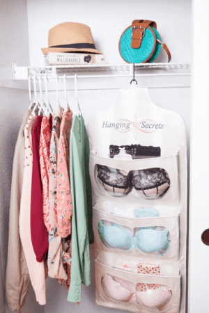 Hanging Secrets intimate apparel organizer closet