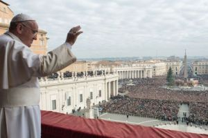 Pope Francis in front Vatican