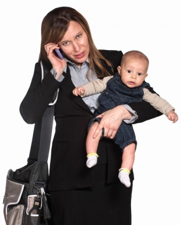 Busy Woman with Baby