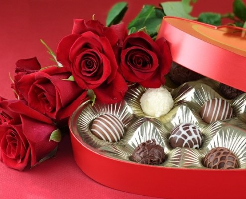 Valentine's Day Candy and Roses