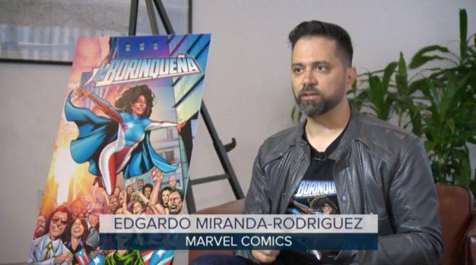 Edgardo Miranda-Rodriguez with his creation La Borinquena