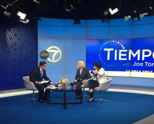 Joe Torres, Tiempo, interviewing Susama G Baumann, LatinasinBusiness.us and Pitch Competittion participant Liz Santiago, CeleBritAy
