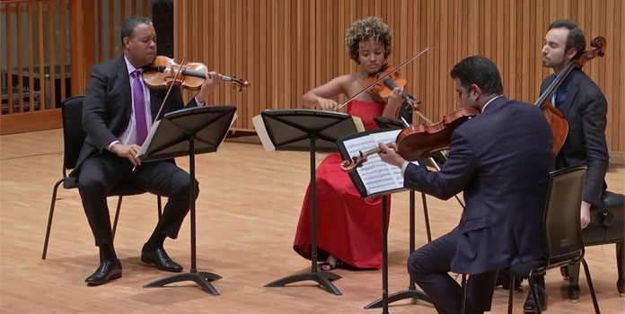 Harlem Quartet (l-r) Ilmar Gavilán, Melissa White, Jaime Amador and Felix Umansky