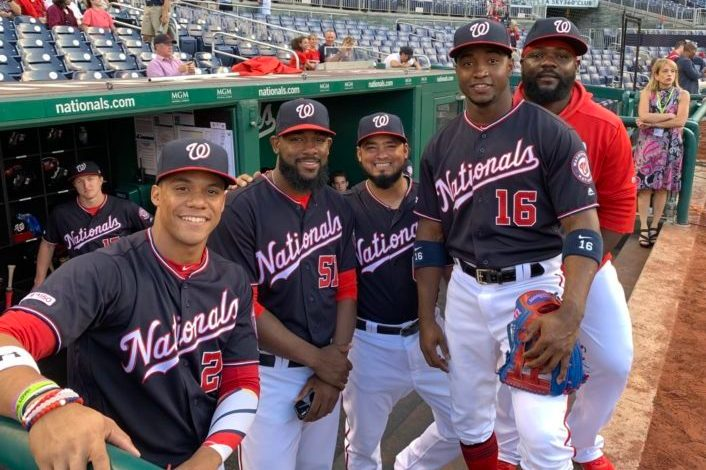 Washington Nationals Juan Soto, Wander Suero, Raudy Read, Victor Robles and Fernando Rodney.