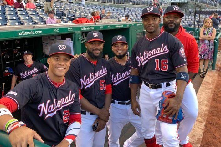 Washington Nationals Juan Soto, Wander Suero, Raudy Read, Victor Robles and Fernando Rodney.