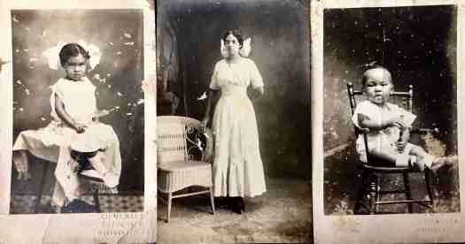Three photo postcards from Mayaguez Puerto Rico from the early 1900s, two toddlers flank a young girl.
