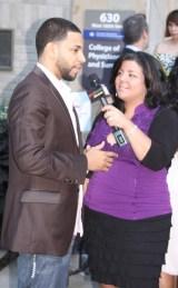 Henry Santos of Aventura giving an interview