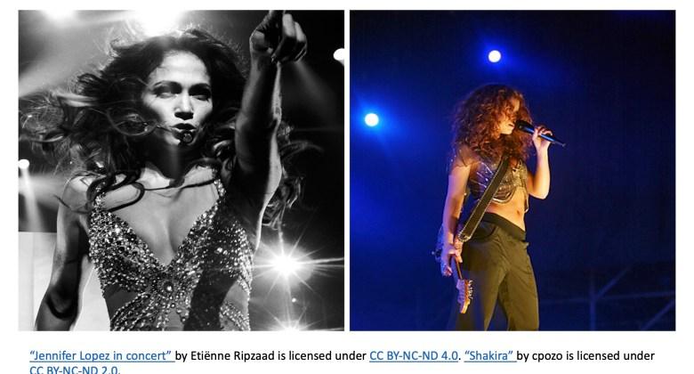 Singers Jennifer Lopez and Shakira on stage, separately