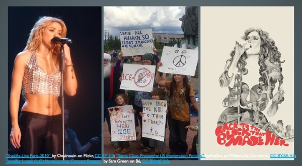 Triptych of singer Shakira in concert, group of children protesting detention of child migrants and Poster of Jenifer Lopez concert.