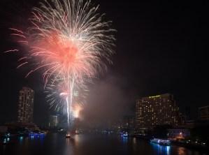 Fireworks over Chao Phraya river, Bangkok