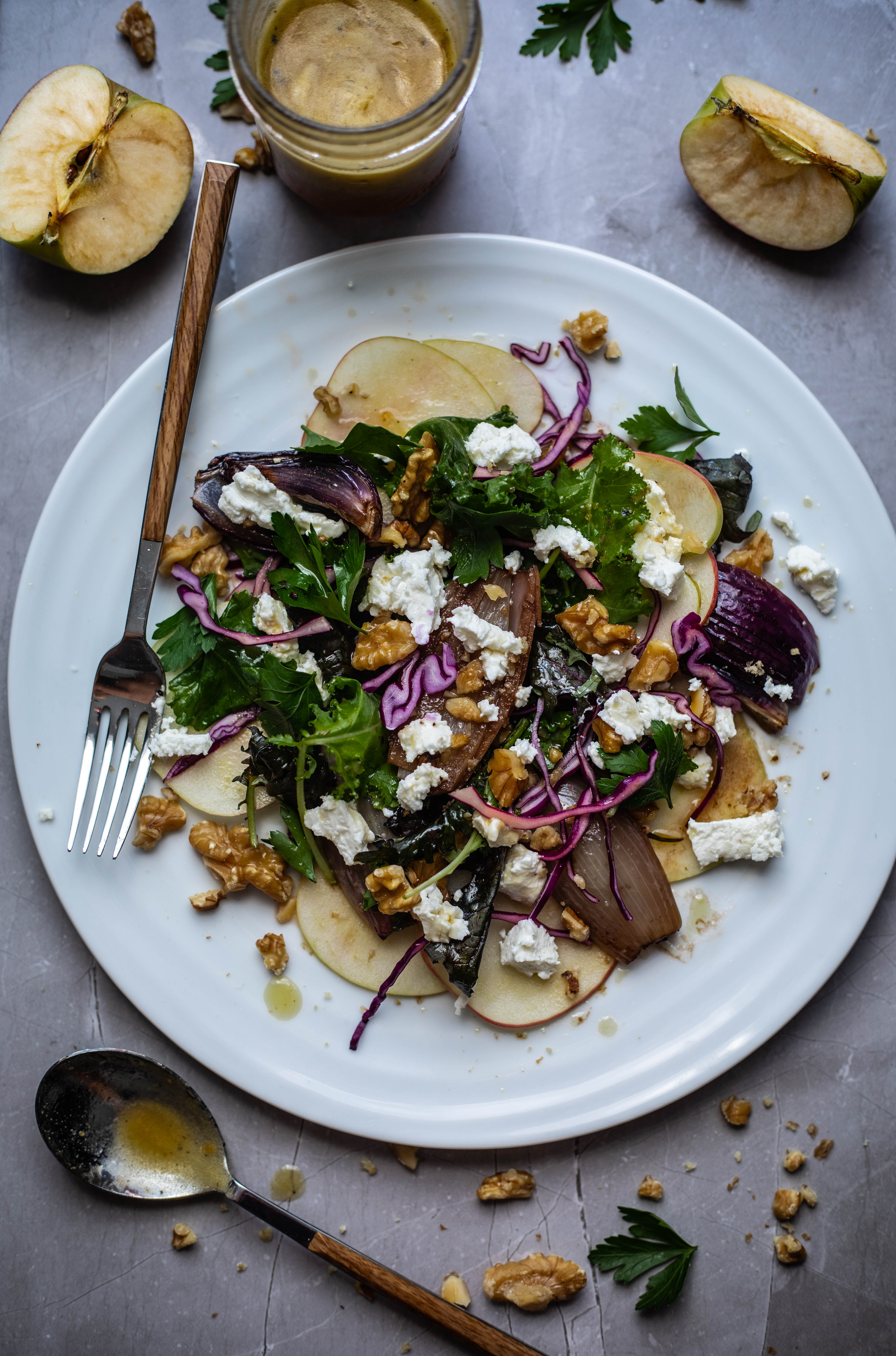 Apple & Walnut Salad with Goat Cheese, Roasted Shallots and a Maple & Cider Vinaigrette