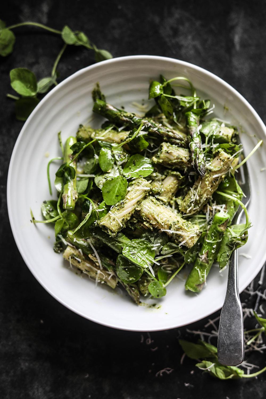 Avocado Pesto Pasta with Garlic Sautéed Asparagus and Pea Shoots