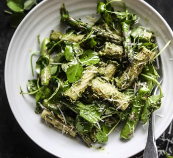 Avocado Pesto Pasta with Garlic Sautéed Asparagus and Pea Shoots