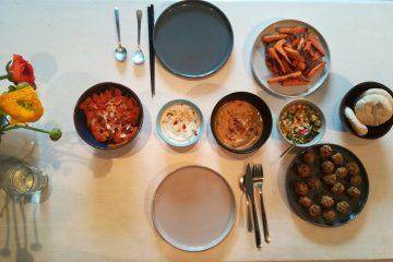 flatlay lebanese food
