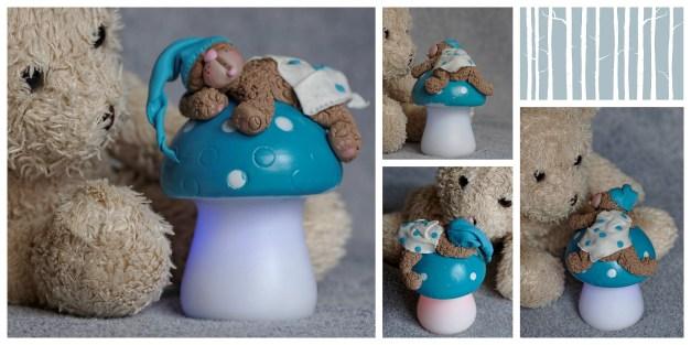 montage ourson veilleuse champignon bleu