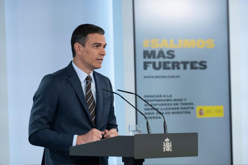 El presidente del Gobierno, Pedro Sánchez, durante una rueda de prensa ofrecida tras la conferencia con los presidentes autonómicos.