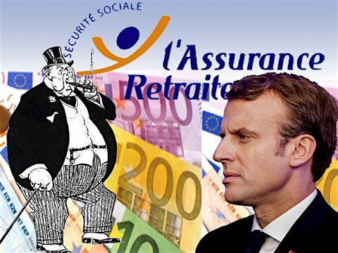 Sécurité sociale retraites réserves euros patrons Macron