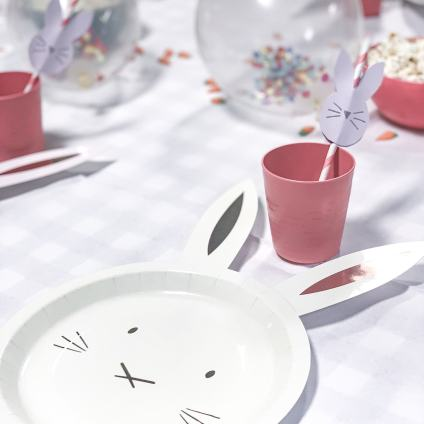 bunny plates and straws