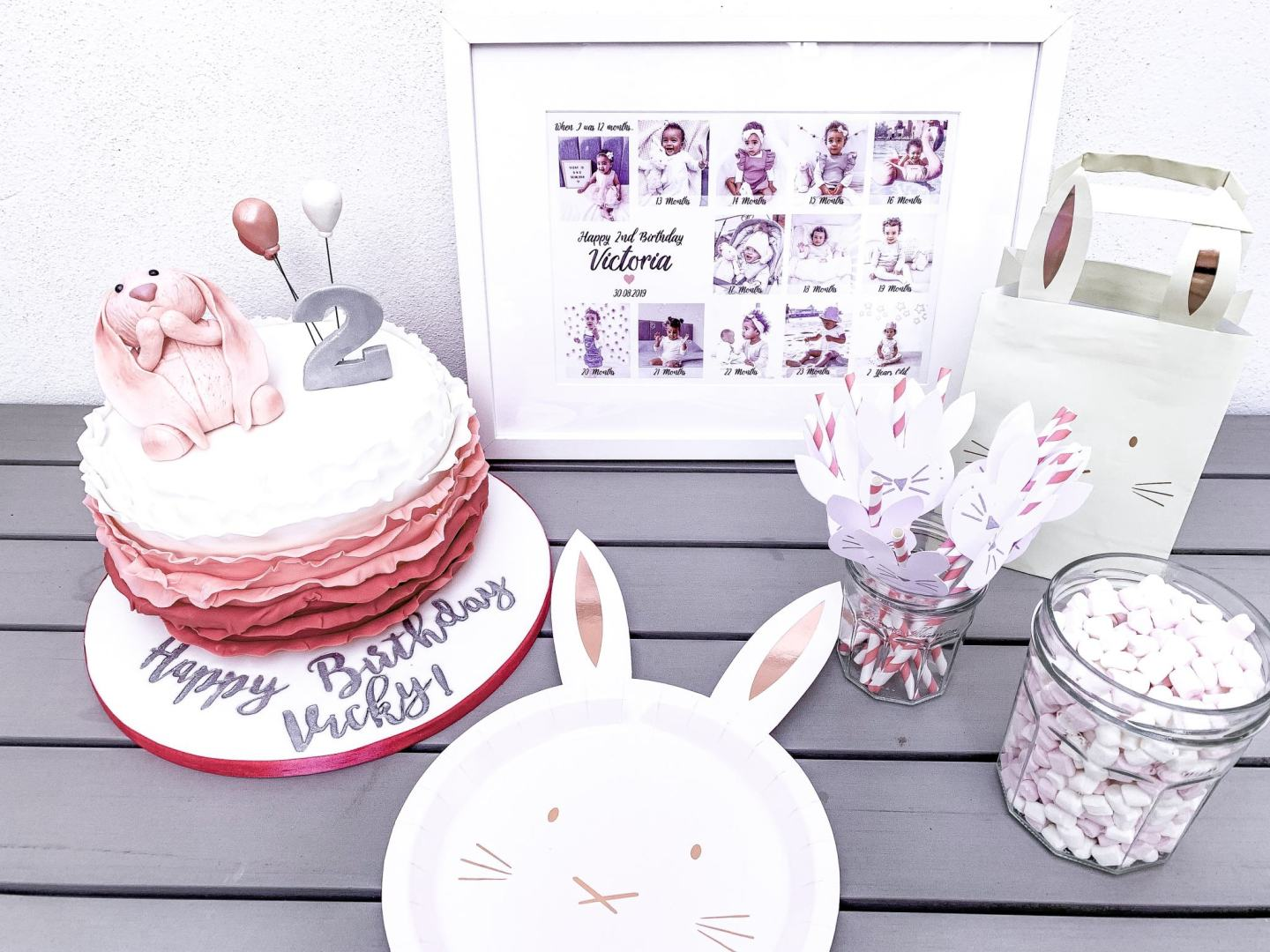 Bunny themed 2nd birthday party at Flip Out Wandsworth