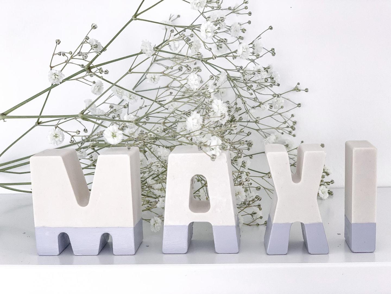 Plaster of paris letter decoration