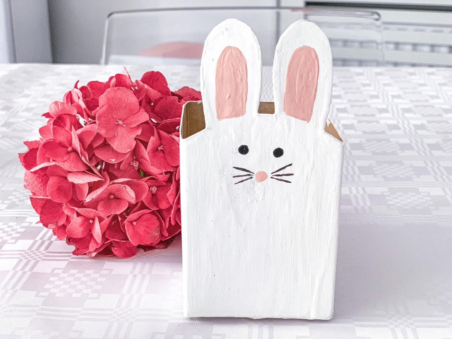Bunny box made from a milk carton