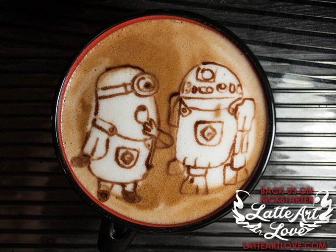 Latte Art - Despicable Me Minion and Star Wars R2D2