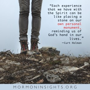 """""""Each experience that we have with the Spirit can be like placing a stone on our own personal monument, reminding us of God's hand in our lives."""" -Curt Holman. hiker's boots standing among rocks and dirt and twigs."""