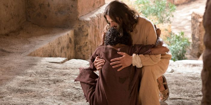 Jesus hugging the man who was born blind