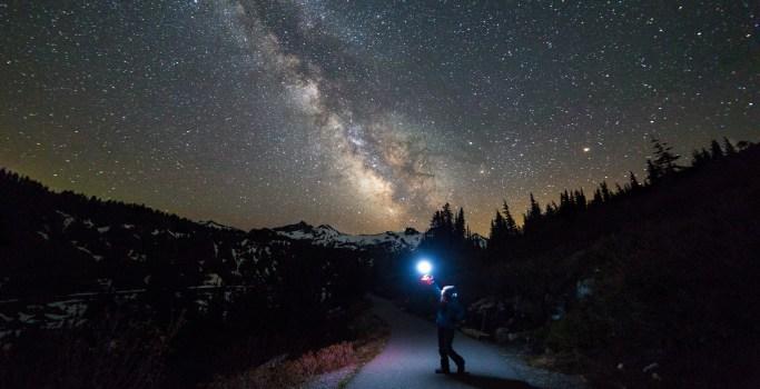 Holding up a light on a starry night.