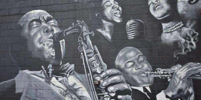 Wall art of jazz musicians