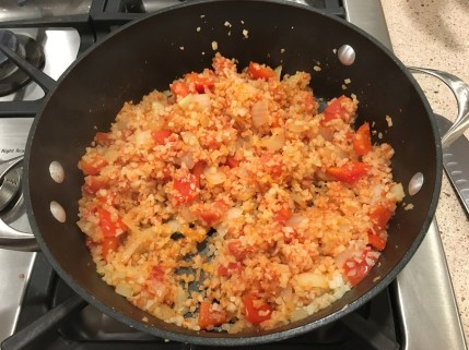 "after the spices were added in to cauliflower ""rice"""