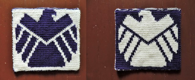 Shield knitted logo