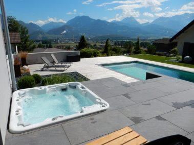 Aménagement complet avec spa et piscine