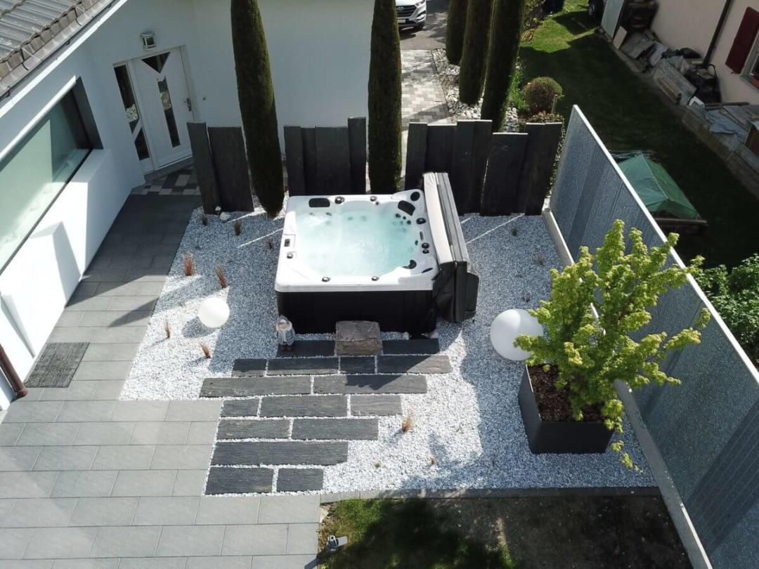 Vue drône d'un spa Eden améanagé par Lattion et Veillard