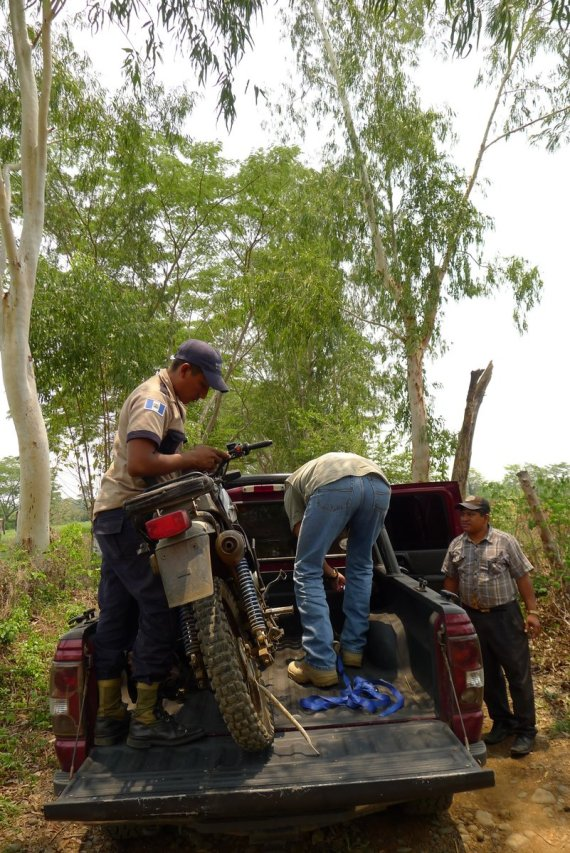Carlos saved one of the farm security guards, his brakes had locked up